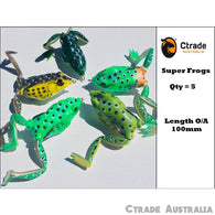 5 Large 100 mm Popper Soft Frog Fishing Lure Surface Barra Lure Cod Trout Bass - Ctrade Australia