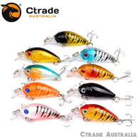 9 x 45mm CrankBait Fishing lures Hard body Bream Bass Trout Flathead Perch - Ctrade Australia