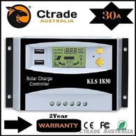 Solar Charge Controller 30A PWM Solar Regulator 12V/24V Backlight - Ctrade Australia