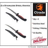 X 2 Fillet Fishing Knife Bait Willow Knife Stainless Steel - Ctrade Australia