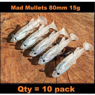 Qty = 10 Soft plastic 80 mm Mad Mullet paddle tail Rigged Lures - Ctrade Australia