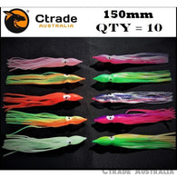Qty = 10 Soft Octopus Squid Skirt Trolling Jig Game Fishing Lure Snapper Tuna Mahi - Ctrade Australia