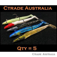 Qty = 5 Pack Jig Fish Head Sinking Fishing Lure 11cm/21g Snapper Jewfish Jigheads - Ctrade Australia
