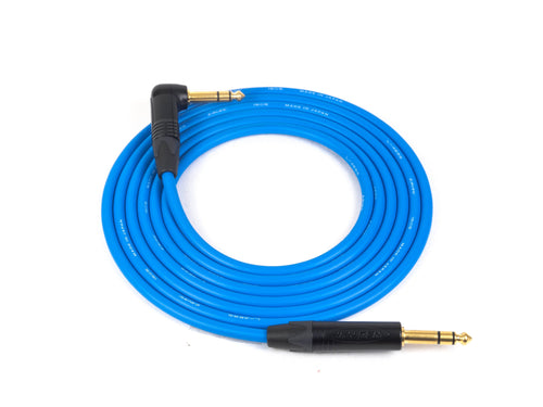 Canare L-4E6S Blue Microphone Cable with Neutrik Gold TRS to Right Angle TRS