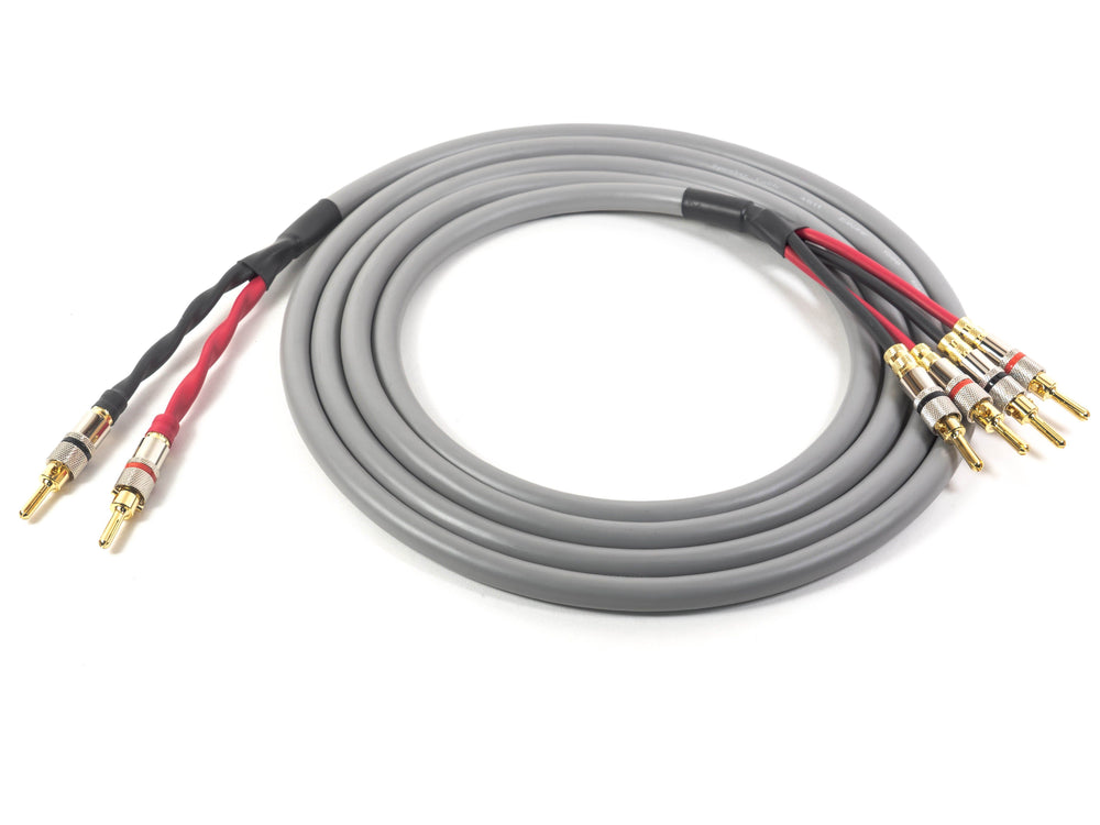 Canare 4S11 Gray Professional Bi-Wire Speaker Cable with Locking Banan