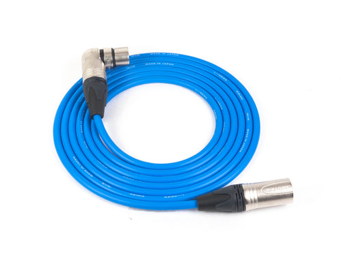 Canare L-4E6S Blue Microphone Cable with 3-Pin Neutrik Nickel XLR-M to Right Angle XLR-F