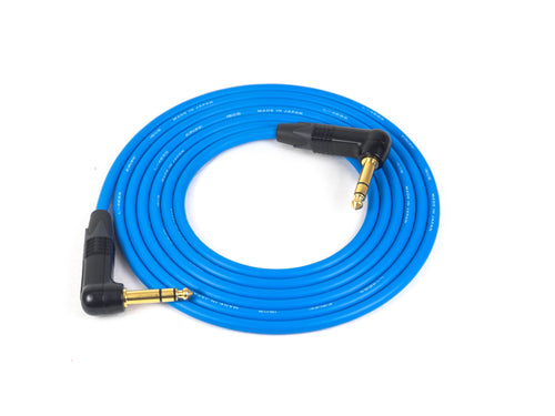 Canare L-4E6S Blue Microphone Cable with Neutrik Gold Right Angle TRS Connectors