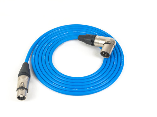 Canare L-4E6S Blue Microphone Cable with 3-Pin Neutrik Nickel XLR-F to Right Angle XLR-M