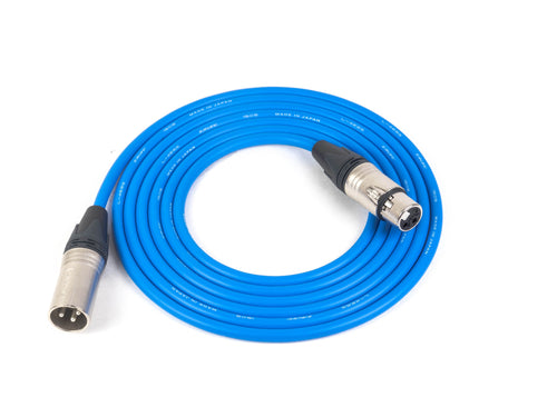 Canare L-4E6S Blue Microphone Cable with 3-Pin Neutrik XLR Nickel Connectors