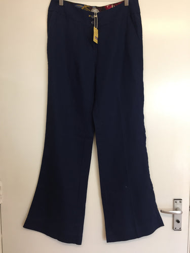 Joules Blue Linen Trousers Size 10 NWT