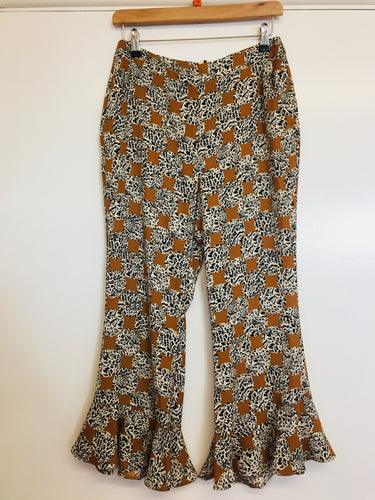 Top Shop Patterned Loose Cropped Trousers Size 12