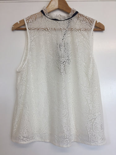 M&S Limited Collection Cream Lace Sleeveless Blouse Size 16