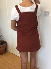 Terracotta Soft Corduroy Dungaree Dress. Fitted Retro Style Pinafore, Apron Mini