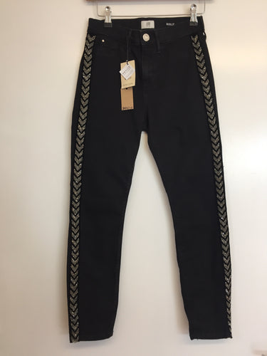 River Island Molly Black Denim Jeans With Jewelled Sides NWT Size 8