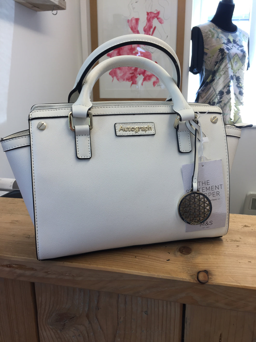 Autograph White Leather Trim Handbag NWT
