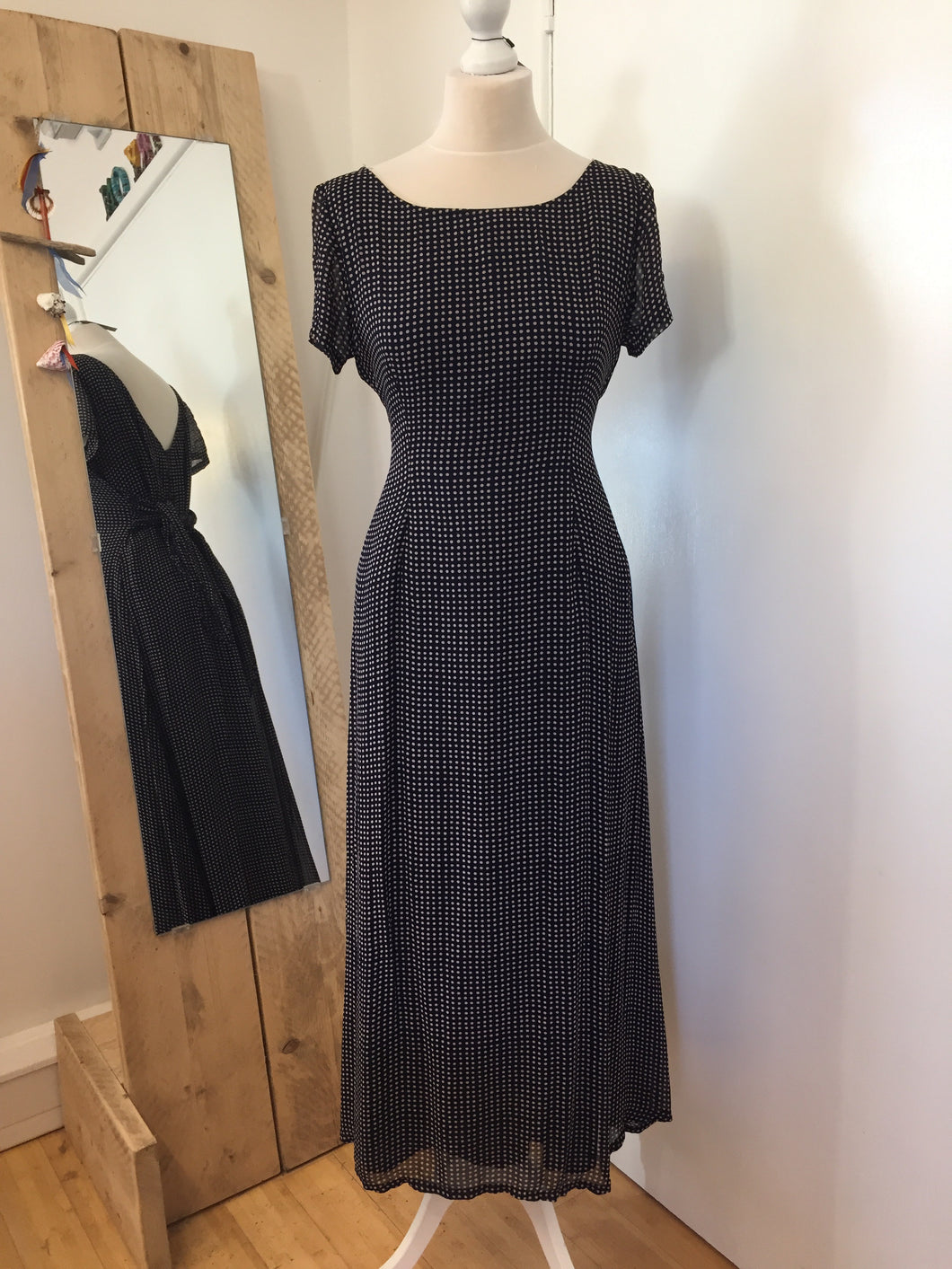 Monsoon Navy Spotted Midi Tea Dress Size 14