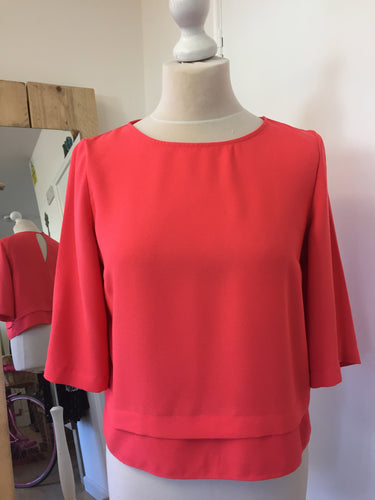 River Island Bright Coral Short Top Size 8