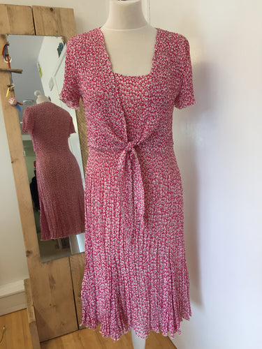 East Pink Ditsy Floral Dress Mock Tie Cardigan Size 12