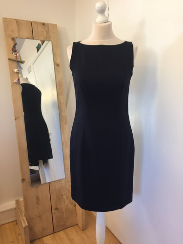 Laura Ashley Navy Blue Wool Blend Shift Dress Size 12