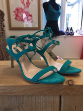 Teal Suede Feel Stiletto Heel Shoes With Tie Straps Size 6