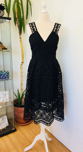 V By Very Black Crochet Dress Size 8 New With Tags