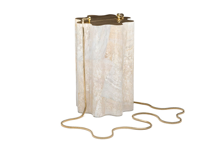 Nathalie Trad Domingo Clutch Bag-Kabibe Shell and Brass