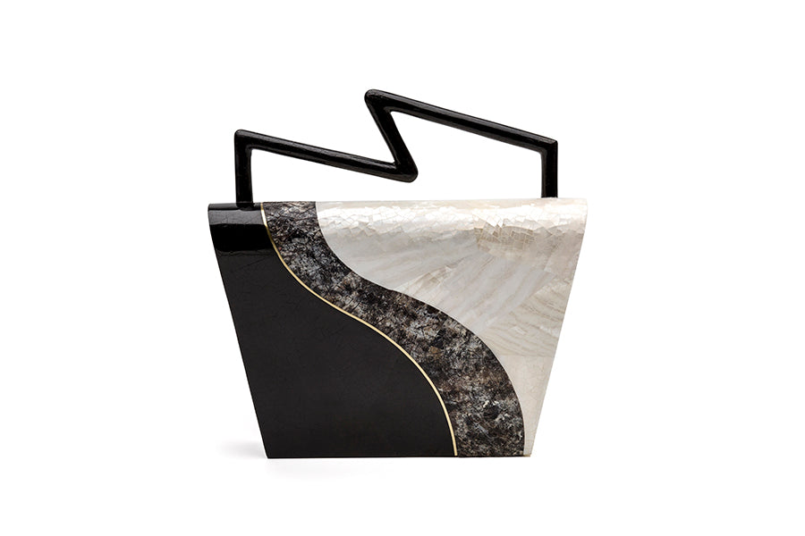 Nathalie Trad Felix Clutch Bag- Kabibe & Black Tab Shell  with brass details.