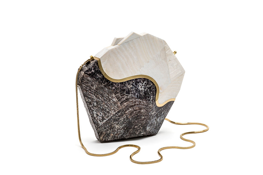 Nathalie Trad Harvey Clutch Bag-PenShell Raw clutch bag with Kabibe Shell and brass detail.