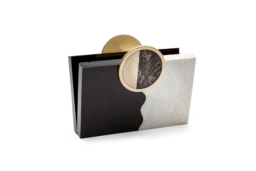 Nathalie Trad Jules Clutch Bag- Kabibe & Black Tab Shell clutch bag with Penshell, Stone and brass details.