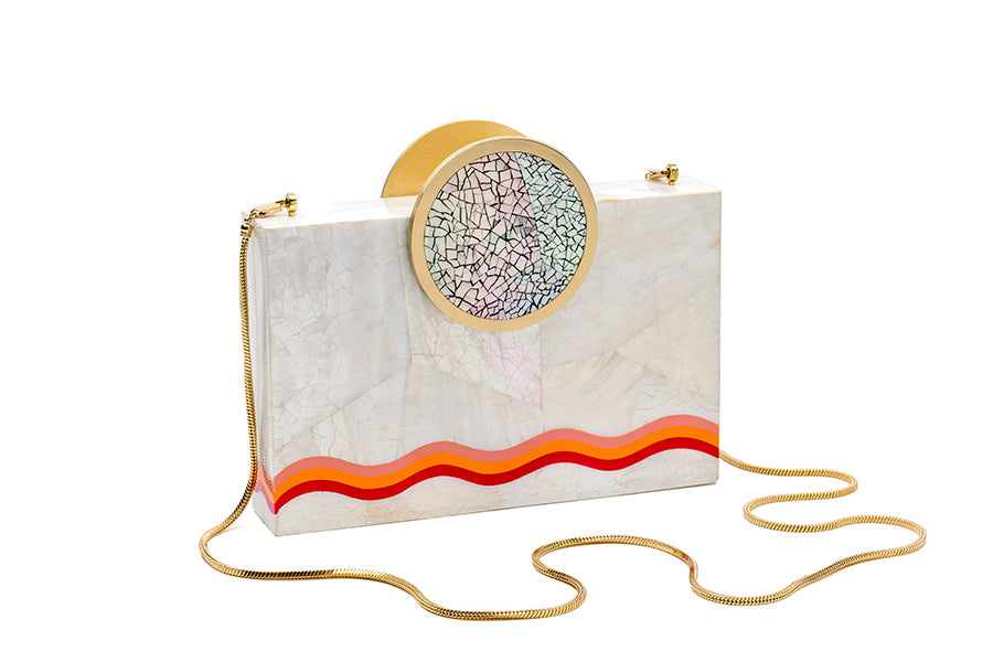 Nathalie Trad Jules Clutch Bag-Kabibe Shell clutch bag with Fruit Punch Resin, Chamber and Brass details