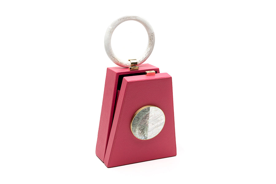 Nathalie Trad Miro Clutch Bag-Pink leather clutch bag with Black Lip Hayang and Kabibe Shell Detail.
