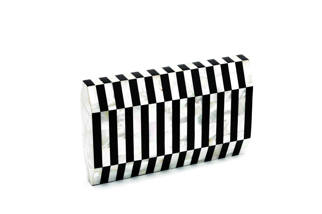 Nathalie Trad Gustave Clutch Bag- Mother of Pearl x Black Tab Polish