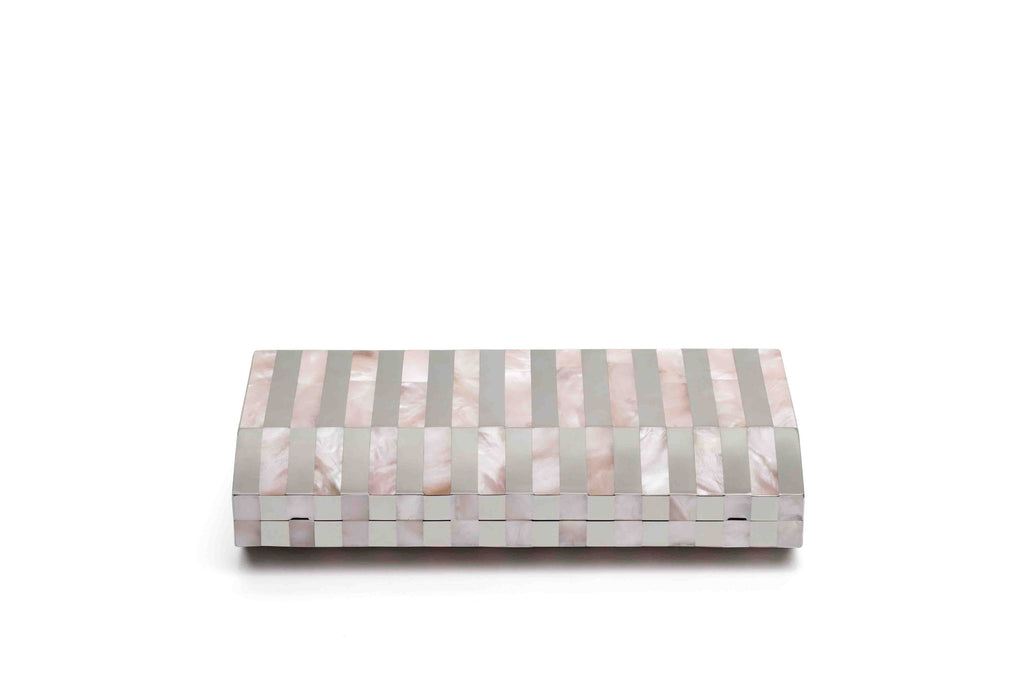 Nathalie Trad Gustave Clutch Bag- Rose Hammer Shell x Stainless Steel