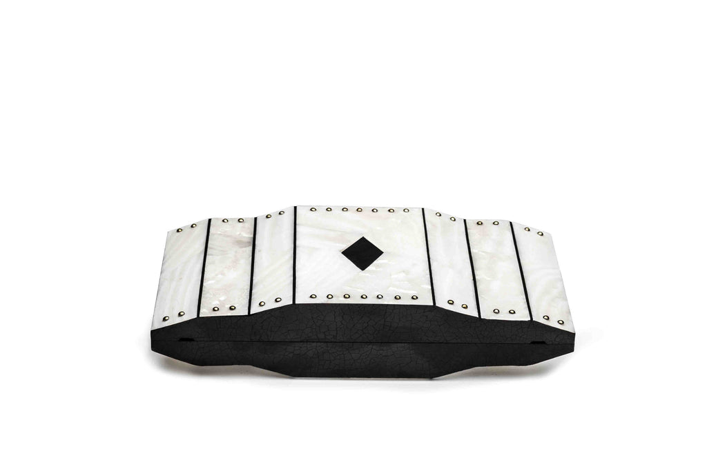 Nathalie Trad Jude Clutch Bag-Black Tab Polish Shell x Kabibe Shell x Brass