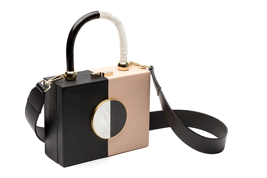 Nathalie Trad Otto HandBag-black and nude leather clutch bag with Black Lip and Kabibe shell component details.