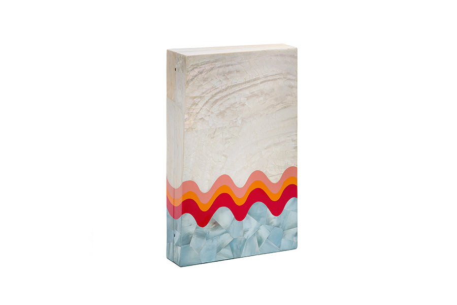 Nathalie Trad Pablo Clutch Bag-A Kabibe Shell Clutch Bag With Aqua Hammer Shell And Fruit Punch Resin Details