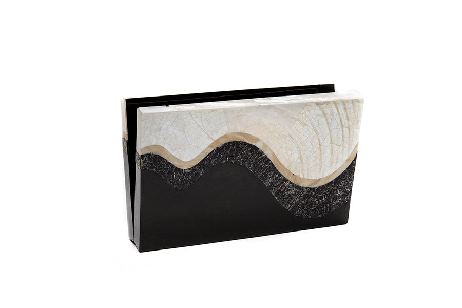 Nathalie Trad Pablo Clutch Bag-Kabibe shell clutch bag with Black Tab shell, Penshell and Stone details.