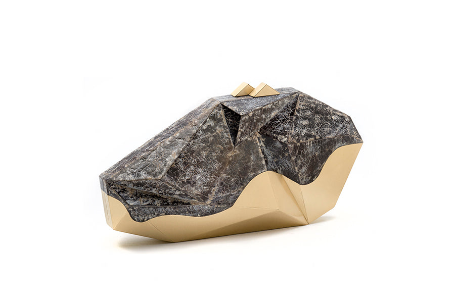Nathalie Trad Polygonia Clutch Bag- Penshell Raw clutch bag with brass detail.
