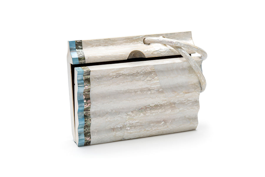 Nathalie Trad Salvador Clutch Bag- Kabibe shell clutch with Black Lip Hayang and Aqua Hammer shell details.
