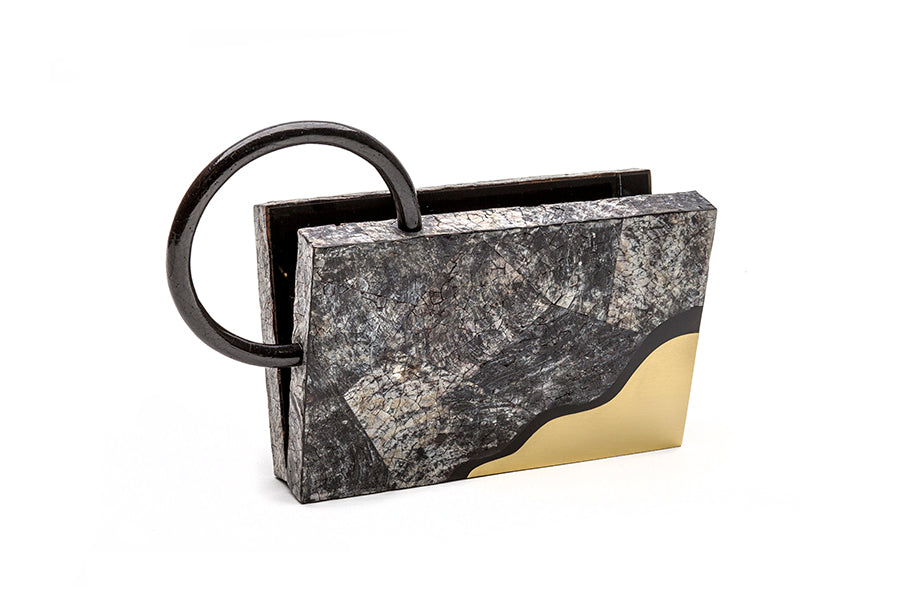 Nathalie Trad Sol Clutch Bag-Penshell Raw clutch bag with Black Tab shell, black resin and brass details