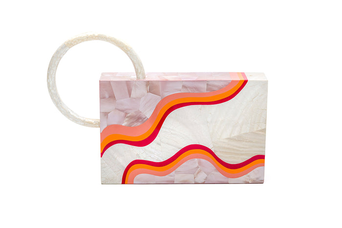 Nathalie Trad Sol Clutch Bag- Kabibe shell clutch bag with rose hammer shell, fruit punch resin details