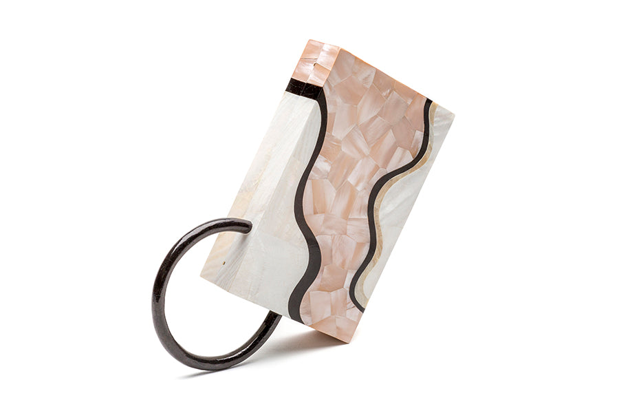 Nathalie Trad Sol Clutch Bag- Kabibe shell clutch bag with Blush Hammer shell, Black Tab shell and stone details