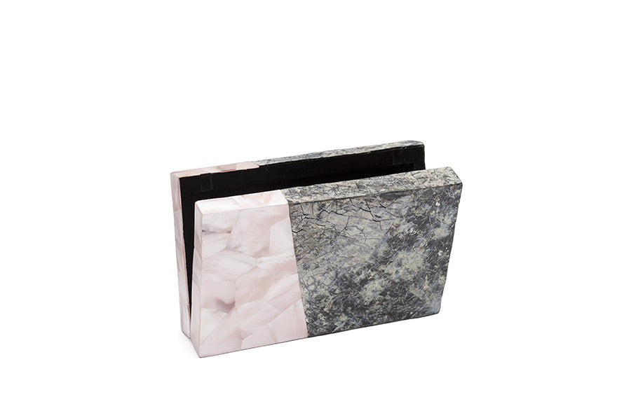 Nathalie Trad Tilda Clutch Bag-  Penshell and Pink Hammer shell clutch with brass details