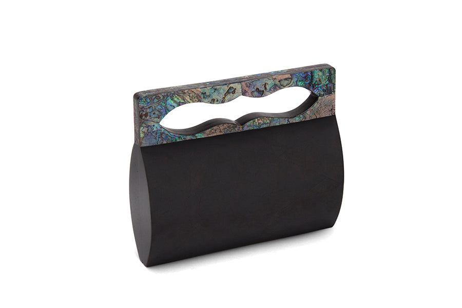 Nathalie Trad Yves Clutch Bag-Black Tab with Paua shell detail.