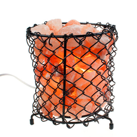 Wire basket filled with Himalayan salt chips.