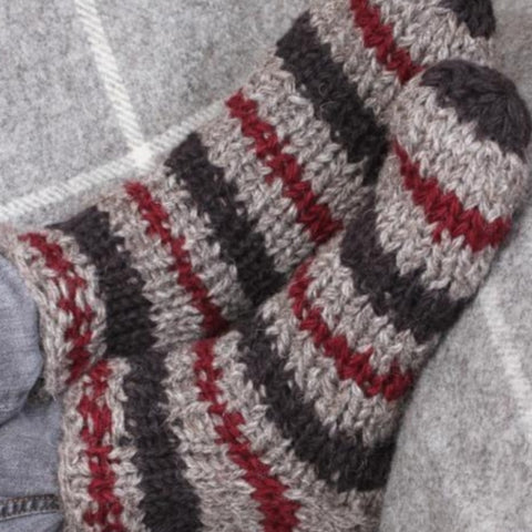 Charcoal and red sofa socks