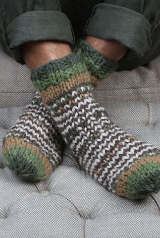 Mens woollen socks green and brown stripes