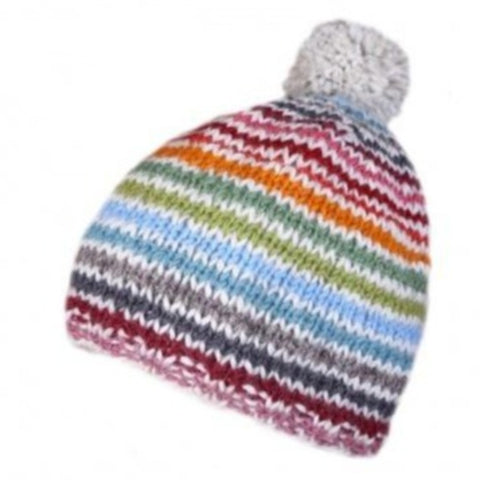 A multi coloured striped bobble beanie hat
