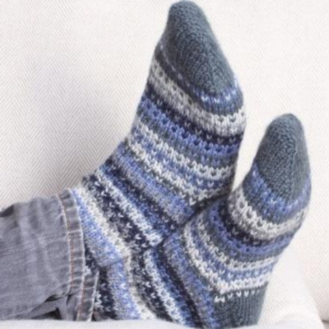 Blue knitted sofa socks