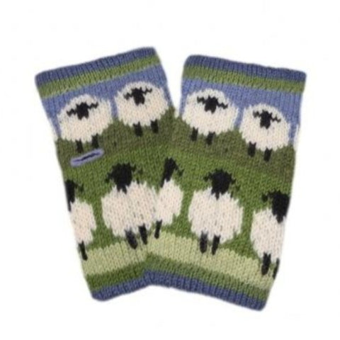 Pair of green and blue hand warmers with sheep design.